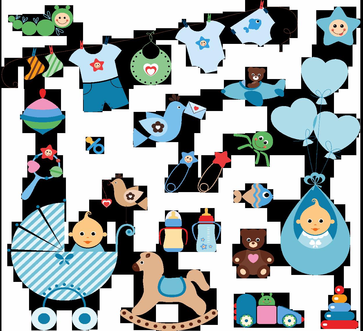Ilustraciones Accesorios para Diseño Postales Tarjetas Baby Shower