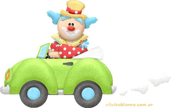 Payaso viajando en automovil