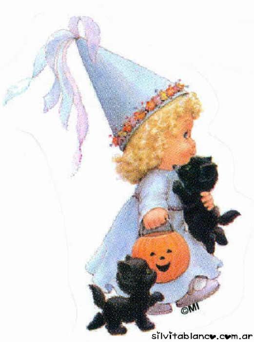 halloween ni�a disfrazada con calabaza y gatitos negros