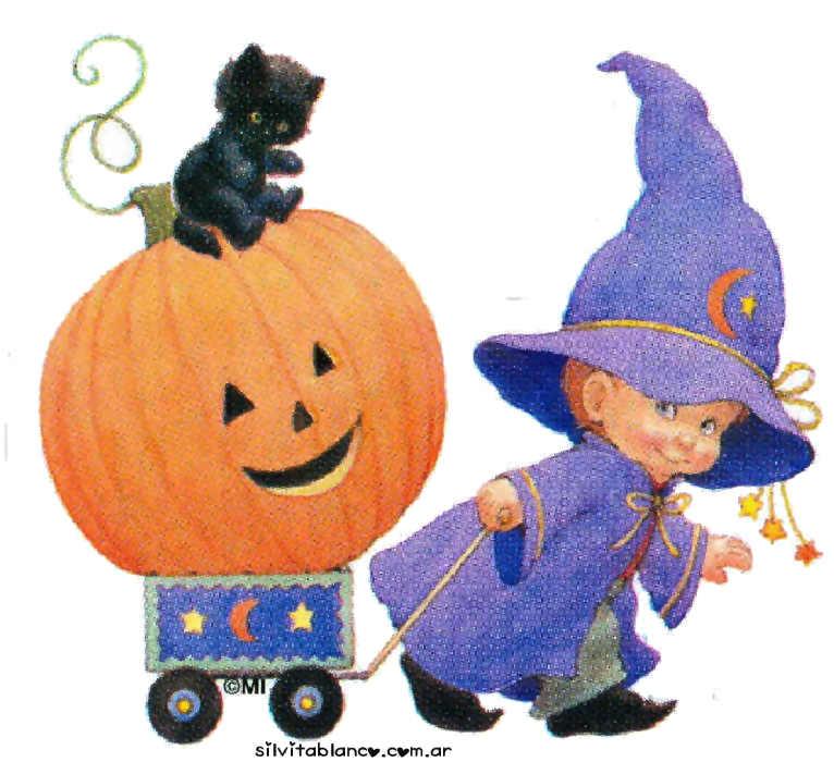 halloween niño disfrazado con calabaza y gatito negro
