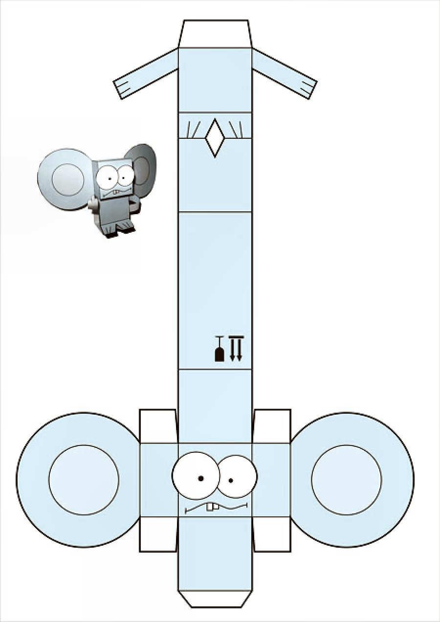 Robot recortar y armar ilustraciones para manualidades for Sillas para armar y recortar