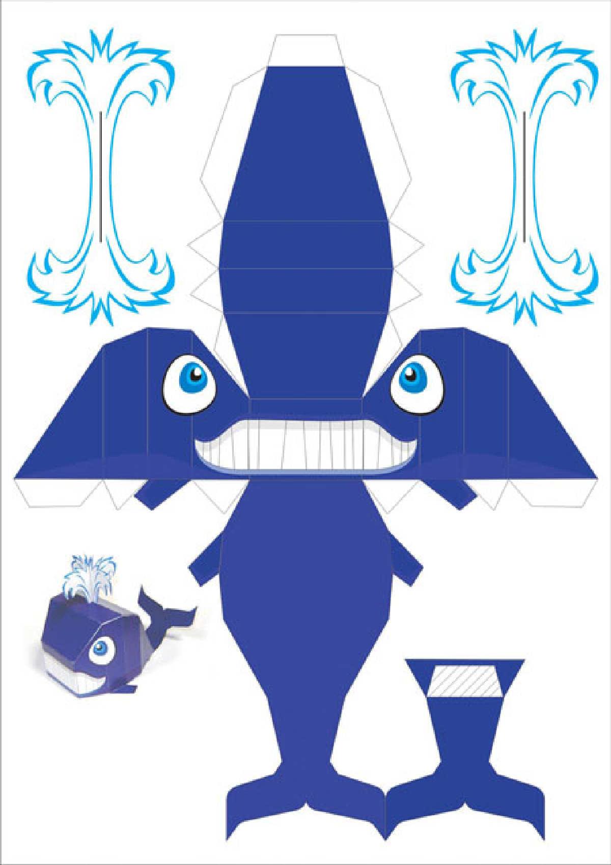 Shark Paper Toy : Tiburón recortar y armar ilustraciones para manualidades