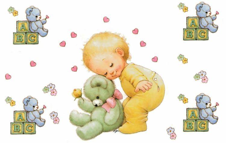 Beb s tiernas im genes - Dibujos pared bebe ...
