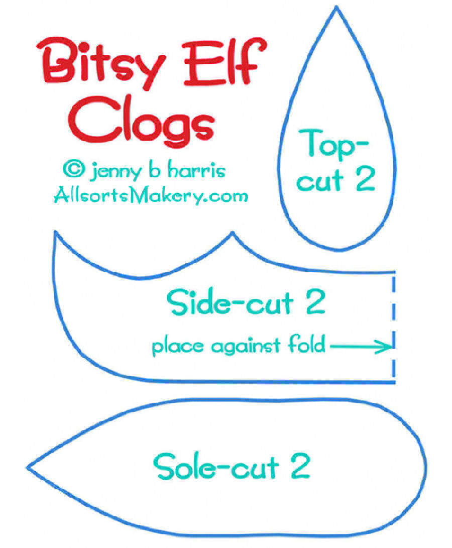 Elf Shoe Pattern Template
