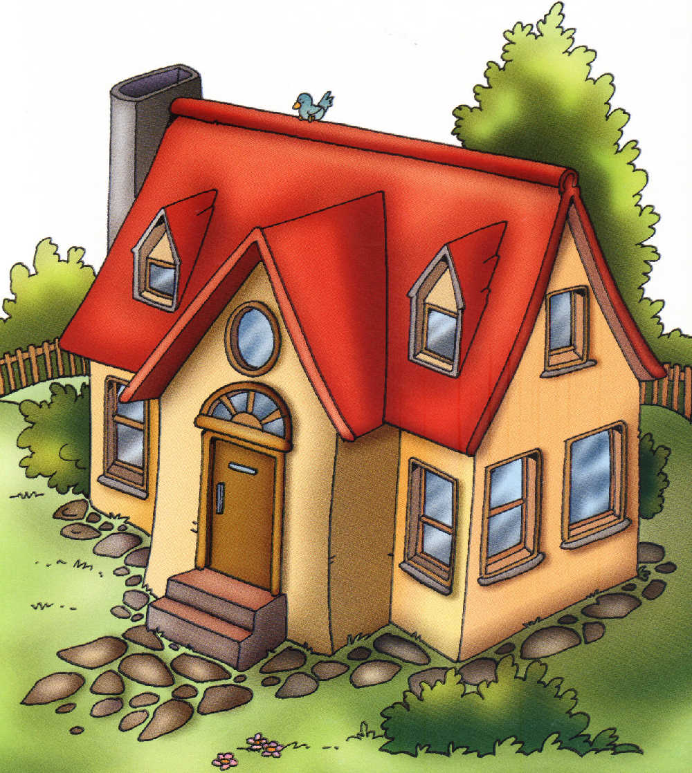Mi casa ilustraciones partes de mi casa depencias hogar for Dibujos en techos de casas