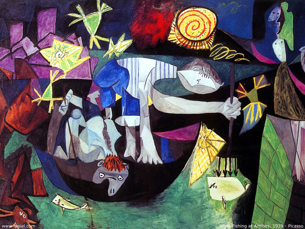 night fishing at antibes 1939 pablo picasso art illustration