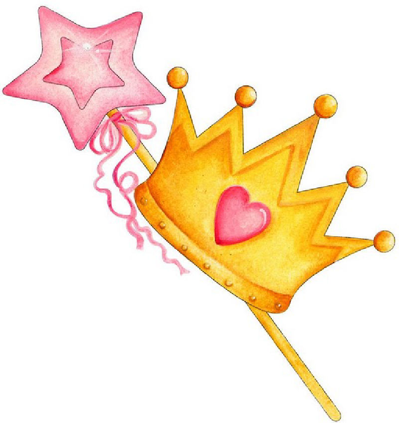 Princess Crown and Wand Clip Art