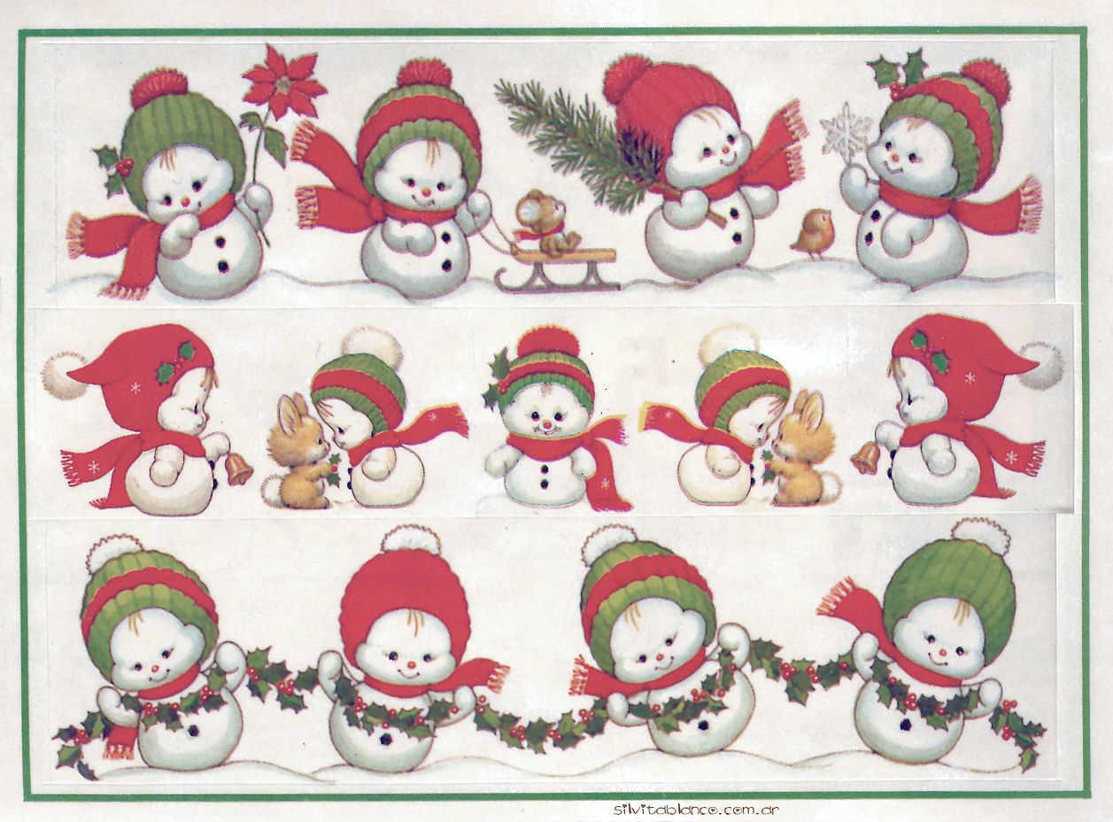 stickers navidad papa noel, muñecos de nieve Ruth Morehead