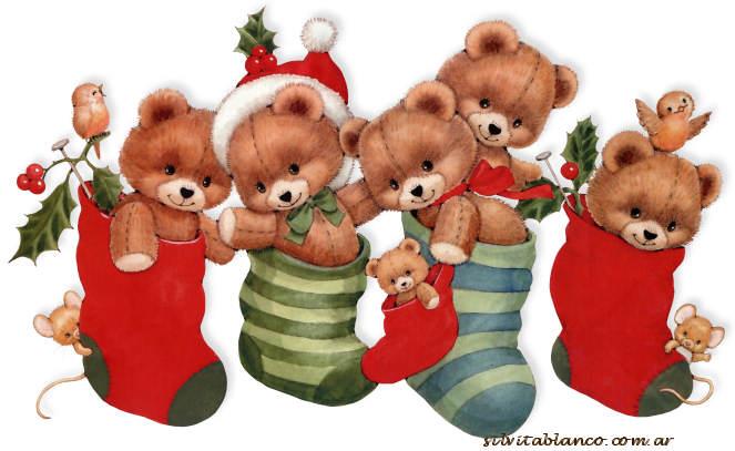 medias de regalos para navidad llena de ositos y ratoncitos
