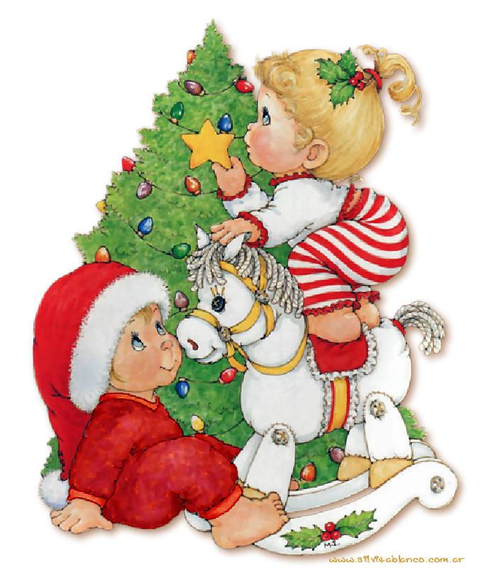 ni�os armando el pinito de navidad