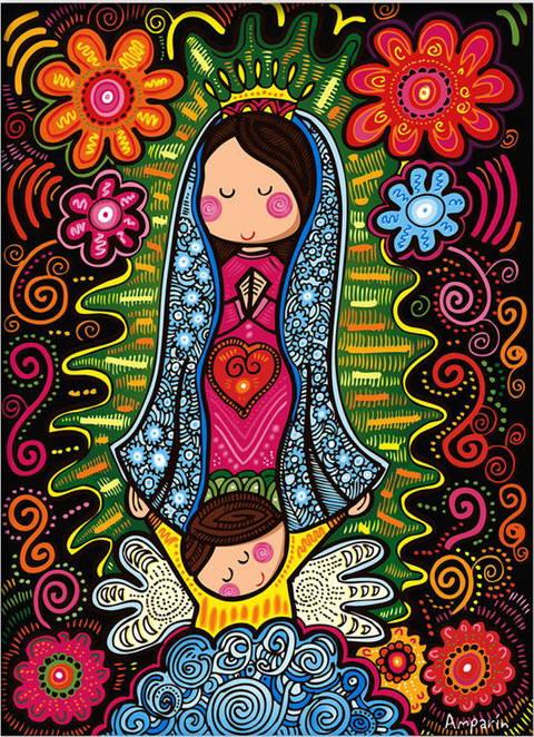 Dibujos de la virgencita plis - Imagui